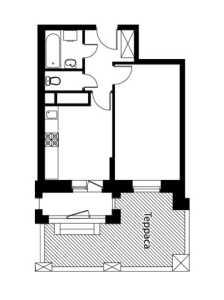 Планировка 1-комнатной квартиры в Лайково